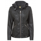 Ladies PU jacket 2in1 with sweat hood, anthracite,