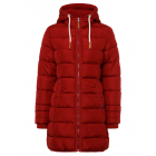 Ladies quilted jacket long form with hood, red, so