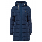 Ladies quilted jacket long form with hood, navy, s