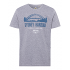 Men's print shirt Sydney Harbor, gray melange,