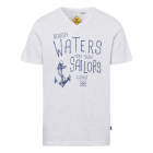 Herren Printshirt Rough Watesr, schnee-melange, so