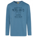 Men's long-sleeved shirt Work Hard, denim blue