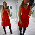 Vestito, estate, svasato, rosso