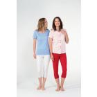 Piżama MC capri, gładki top, haftowany kwadratowy
