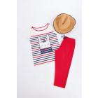 Piżama MC capri, top z tkaniny w paski z dekoltem