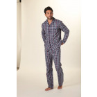Long ML woven checked pajamas with buttoned top, p