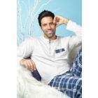 Długa piżama ML, gładki top, tunezyjski kołnierz,