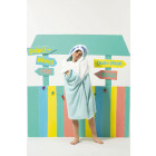 Plain hooded bath cape with application and embroi