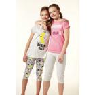 Capri pajamas MC, plain round neck top, imp dvt,