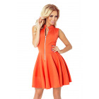 Dress with zipper and pockets - orange