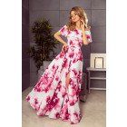 194-2 Long dress with Spanish cleavage - flowers