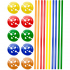 Multicolour Ballon Sticks with Holders - 10 pieces