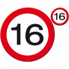 16 Years Traffic Sign Placemat and Coaster Set -
