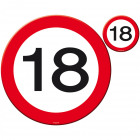18 Years Traffic Sign Placemat and Coaster Set -