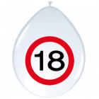 18 Years Road sign Balloons - 8 pieces