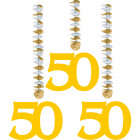 50 Years Golden Hanging Decoration - 3 pieces