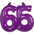 65 años Marcos inflable púrpura transparente