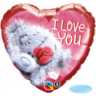 I love You Hart Folieballon Beertje 46cm