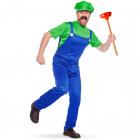 Super Plumber Green Costume Men XL-XXL