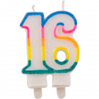 16 years Glitter candles with 2 holders