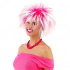 Peluca de cabello de color rosa con picos blancos