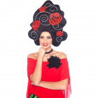 Foam Wig Black with Roses