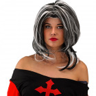 Wig black and white hair with blow
