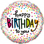 Happy Birthday Confetti Foil Balloon 46cm