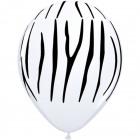 Globos blanco estampado de zebra de 28 cm - 25 pie