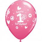 1st Birthday Balloons Girl - 25 pieces