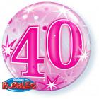 40 Jaar Bubbles Ballon Roze 56cm