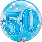 50 Jaar Bubbles Ballon Blauw 56cm