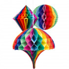 Rainbow Honeycomb Shapes set - 30 cm - 3 pieces