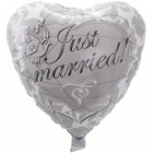 Silver wedding heart balloon Just Married