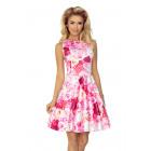 125-16 Dress KOŁO - V-neckline - PINK ROSES