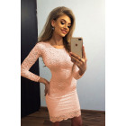 145-5 Fitted lace dress - PEACH