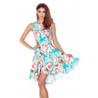 148-1 Dress with long back PEACH FLOWERS