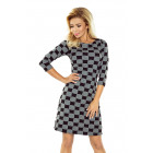 164-1 Dress with trapezoid skirt - black and gray