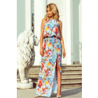 191-5 Dress MAXI tied at the neck with a slit