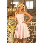 83-3 Corset dress with eco-leather - PASTEL ROSE
