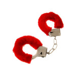 Handcuffs with fur - red