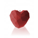 Kaars hart hoekig - rood