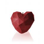 Kaars hart hoekig - metallic rood