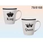 Porseleinen kopjes Queen and King - 12 stuks