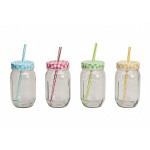 Cup jar with a straw
