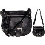 Frunce los bolsos A11 lacado negro de la Mujer