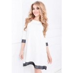 Dress trapezoidal, smooth, lace, white