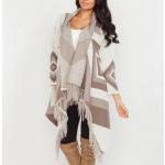 Fringed sweater, coat, cardigan, mocca