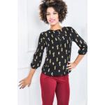 Shirt, blouse, drukwerk cactus, mist, zwart