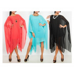 Chiffon jurk, fris, zomer, koraal, uni